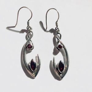 Jewelry - Garnet and Silver Earrings